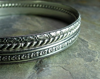 Bangle Bracelet Set sterling silver pattern wire stacking - English Garden
