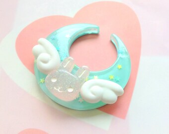 Fairy Kei Blue Moon Bunny Hair Clip, Kawaii Brooch, Rabbit Moon, Cute Wings Brooch, Pink Bunny Angel Hair Clip, Pastel Kei, Mahou, Cosplay