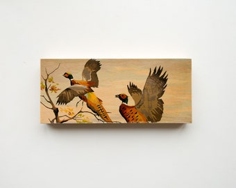 "Paint by Number Large  6"" x 14"" Art Block 'Pheasant Pair' - hunting, fall color, vintage landscape"
