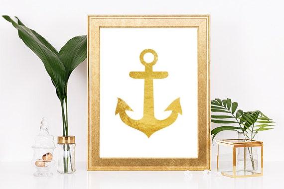 Gold Anchor Wall Decor Nautical Decor Anchor Decor Anchor