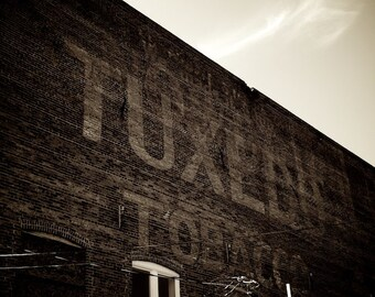 Masculine Industrial Decor, Tuxedo Tobacco Painted Ad, Sepia Photography