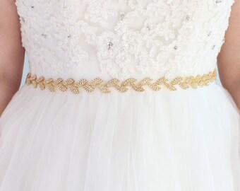 Wedding Belt Gold Bridal Belt Gold Leaf Belt Sash Belt Bridesmaid Belt Crystal Bridal Sash Belt Wedding Dress Belt