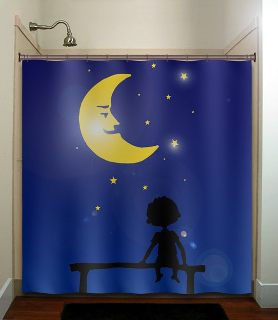 Starry Night Star Moon Girl Boy Children Shower Curtain Extra