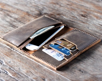 iPhone 7 Leather Wallet Case, Leather iPhone Case, iPhone Protective Leather Armor, Clutch Wallet Design, PERSONALIZED Gift Idea, #013