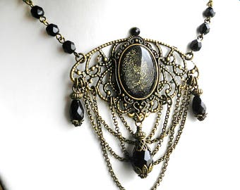 Gothic Moth Necklace Black Victorian Necklace Glitter Necklace Mourning Jewelry Glass Opal