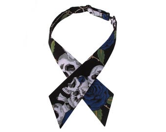 Blue & Black Skulls and Roses Adjustable Crossover Bow Tie