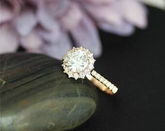 New!!1.0ct Charles & Colvard Round Forever One Moissanite Ring Solid 14K Rose Gold Ring Moissanite Wedding Ring Moissanite Engagement Ring
