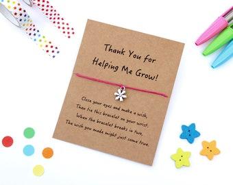 Teacher Thank You Gift, Teacher Wish Bracelet, Teacher Appreciation Gift, Helping Me Grow Gift, Teacher Gifts, Gifts for Teachers