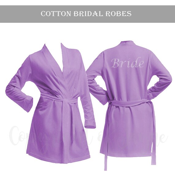 Personalised Lilac Cotton Bridal Party Robe Bride Dressing