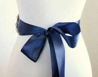 Navy Blue Double-Faced Satin Ribbon Sash -1.5 inches wide, 3 yards