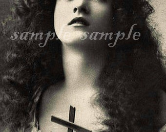 VINTAGE photograph Instant DIGITAL DOWNLOAD Collage Sheet Victorian beautiful Girl Rosary Religious Gothic Gypsy Wiccan Bohemian Boho