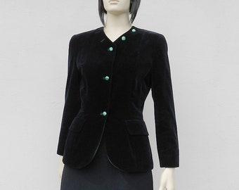 80s Jacket Black Velvet Blazer Size S Small