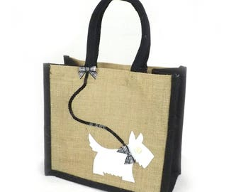 Jute Hessian Burlap Black Trim Lunch / Small Shopping Bag - White Westie on a Lead
