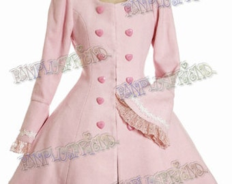 Exclusive Designer Fashion, Neo-ludwig Classical Lolita Scallop Wave Thick Wool Coat&Fine Fur Bow Scarf