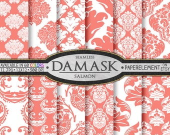 Salmon Pink Damask Digital Paper Pack: Salmon Damask Background Paper, Salmon Digital Paper, Salmon Printables, Soft Pink Damask Textures