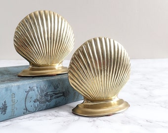 Vintage Brass Scallop Shell Bookends Book Ends