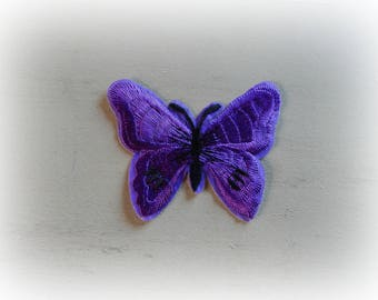 1 patch fusible patch / applique Butterfly in shades of purple and black 5.5 * 7 cm