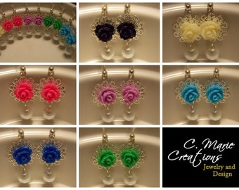 CLEARANCE!!! Rose Pearl Earrings- Choose Your Colors