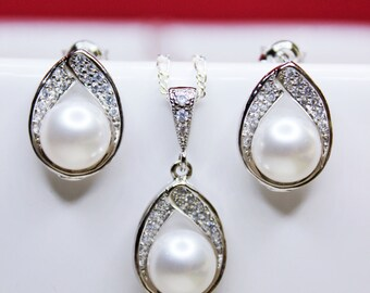 Jewel Pearl Drop Wedding Jewelry Set, Bridal Set, Bridesmaids Jewelry Set, Earring and Necklace Bridal Jewelry Set