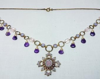 Micro Mosaic Festoon Necklace, Purple Amethyst, Pink Rose Quartz, Italy, Grand Tour Souvenir