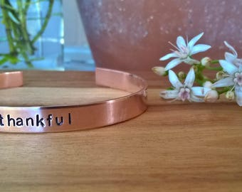 Hand Stamped Cuff Bracelet Band - Thankful