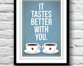Kitchen art, Housewarming gift, Coffee print, Kitchen decor, Quote poster, Coffee poster, Retro poster