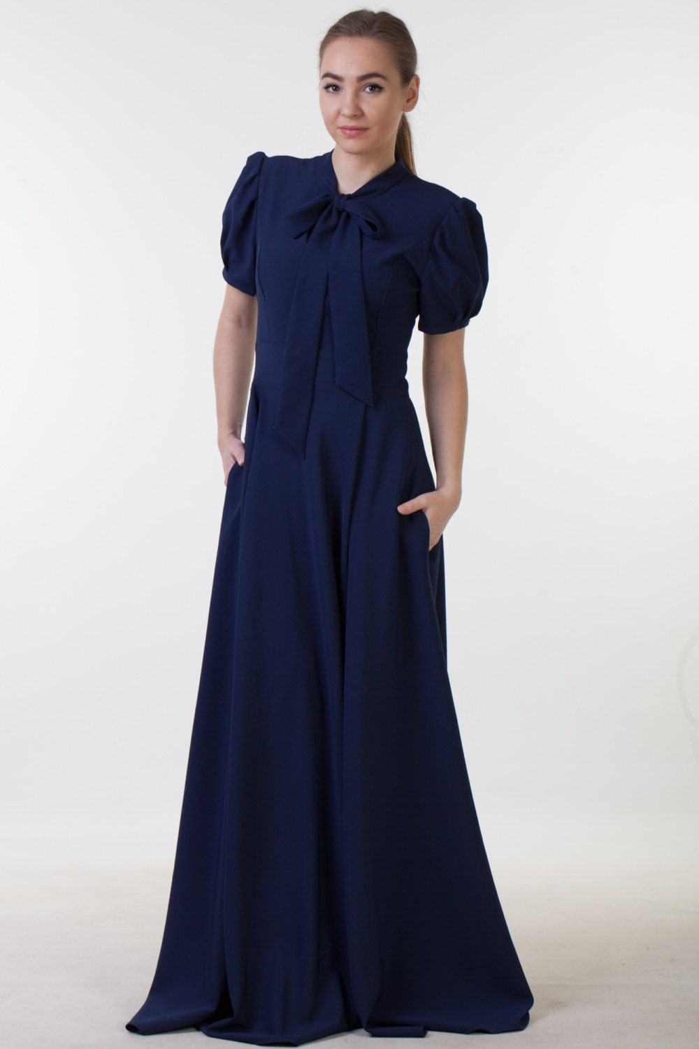 Clearance one size sale long navy blue dress with pockets description navy blue dress with pockets ombrellifo Image collections