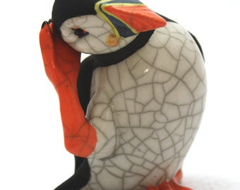 Puffin Scratching - ceramic raku fired sculpture