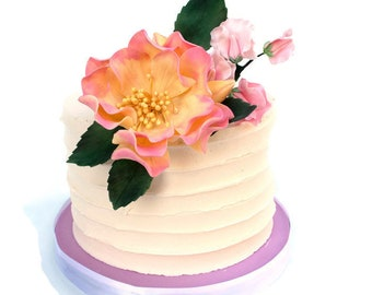 Pink and Yellow Sugar Flower Arrangement Cake Topper with roses and sweet peas for birthdays, weddings, fondant cakes, diy brides