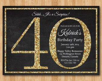 50th birthday invitation Gold Glitter Birthday Party invite