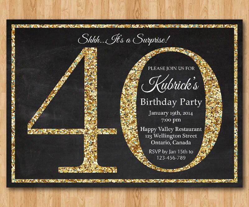 abbastanza invito compleanno 40 . Invito festa di compleanno Glitter VX41