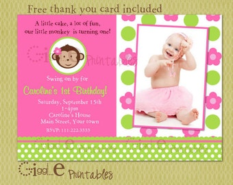 Mod Monkey Birthday Invitation - FREE thank you card included