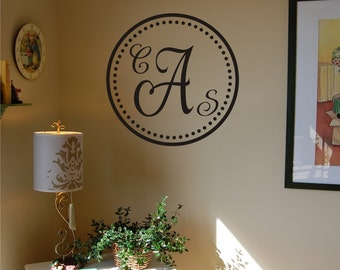 Elegant Dot Monogram - Vinyl Wall Decal
