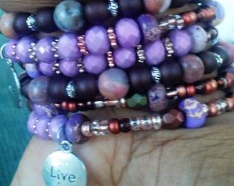"Purple & Brown ""Live Laugh Love"" Memory Wire Bracelet"