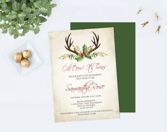 DEER ANTLER Baby Shower Invitation, Deer Antlers Baby Shower, CHRISTMAS December Party, diy Invitations Editable Template Shower Invite