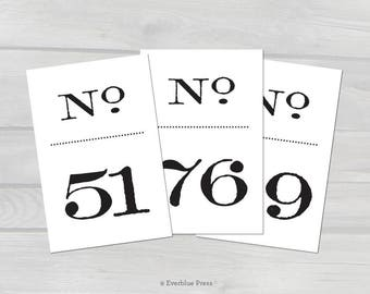 PDF Printable Wedding Table Numbers Signs | Numbers 51-100 | 4x6 | Old Fashioned Black Numbers | Vintage Literary Wedding | Stamped Antique