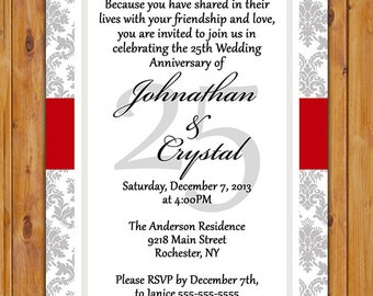 25th Wedding Anniversary Invitation Red and Grey Silver Damask Printable 5x7 JPG Digital (99)