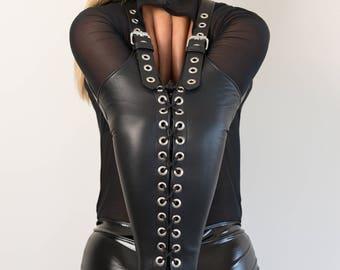 Bondage Leather Armbinder - Lacing Custom Made Italian Leather (MATURE)