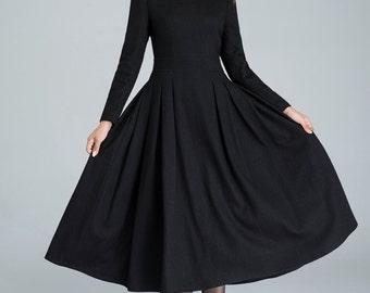 long black dress, wool dress, winter dress, pleated dress, handmade dress, ladies dresses, full lining dress, party dress,classic dress 1614