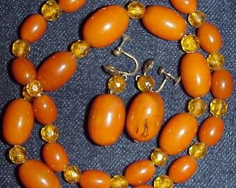 SALE Butterscotch Amber Bakelite Necklace w Matching Earrings Demi Parure Set Vintage Antique Art Deco Set