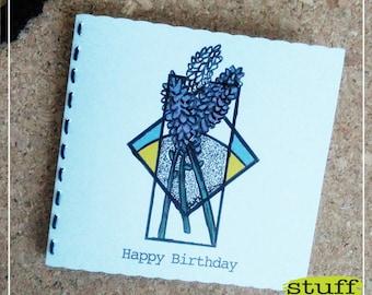 Happy Birthday greeting card / handmade greeting card / geometric card / floral greeting card / lavender greeting card