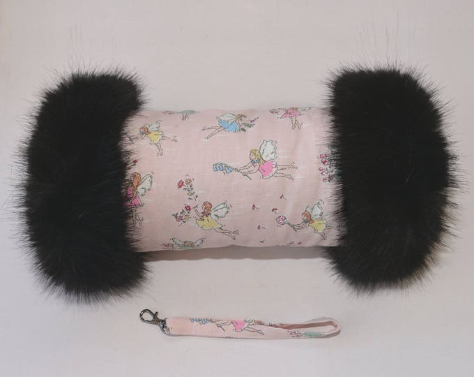 Cath Kidston Garden Fairies Hand Muff with Luxury Black Faux Fur Trim
