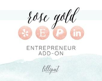 Rose Gold Foil Social Media Icons | Entrepreneur Add-On Pack