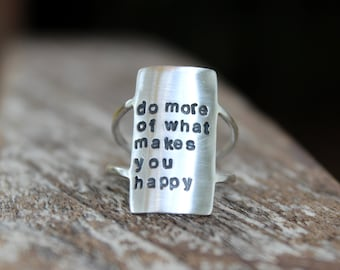 Own Your Statement Ring - Inspirational Personalized Quote Ring - Personalized Boho Ring - Inspirational Ring