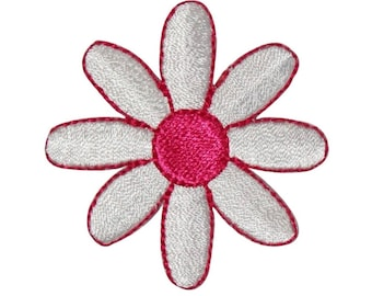 ID 6747 White Pink Daisy Flower Patch Blossom Hippie Embroidered IronOn Applique