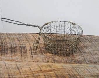 Vintage Deep Fryer Basket with Wire Handle
