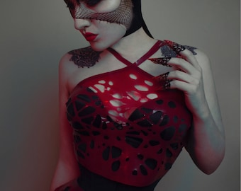 Roxy Bird's Nest Mesh Latex Crop Top in Red or ANY Colour
