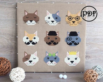 Nine cats cross stitch pattern pdf Cat embroidery pattern Cat lady gifts Pet embroidery Modern cross stitch chart Instant download
