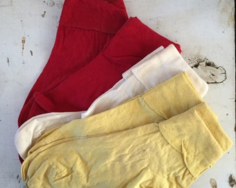 Bobby sox vintage cotton socks cherry red white buttercup yellow size 7 NOS