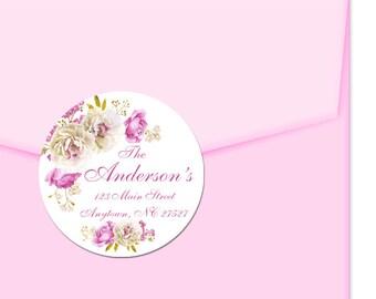 Personalized Address Labels / Pink Gold Flowers / Custom Labels / Envelope Seals / Spring Floral / Favor Labels / Thank You Labels / Wedding